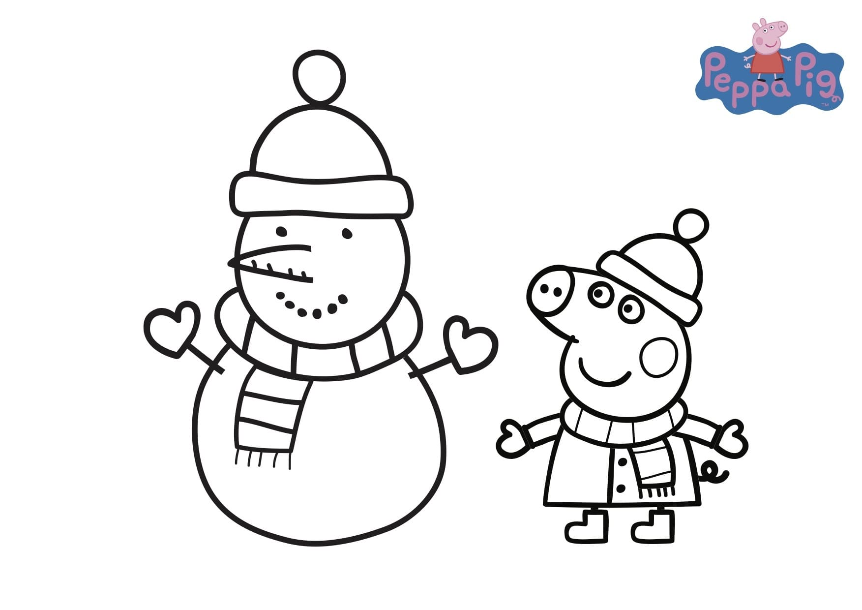 Hình ảnh tô màu chú heo Peppa và người tuyết