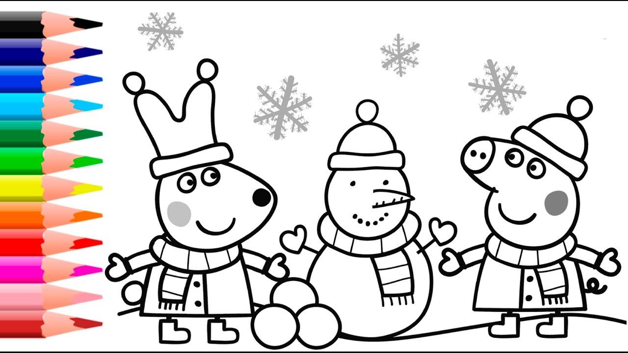 Hình ảnh tô màu đẹp của heo Peppa trời tuyết