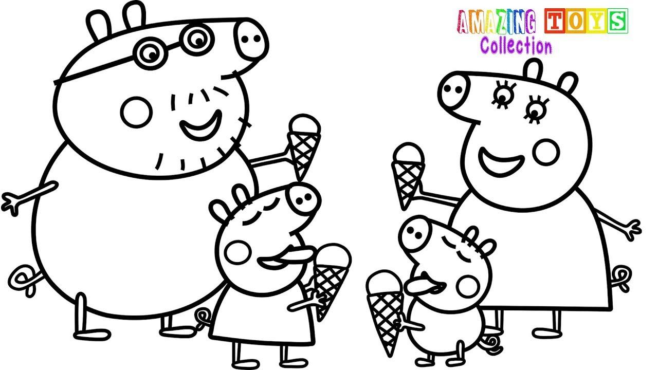 Hình ảnh tô màu heo Peppa cả gia đình heo ăn kem