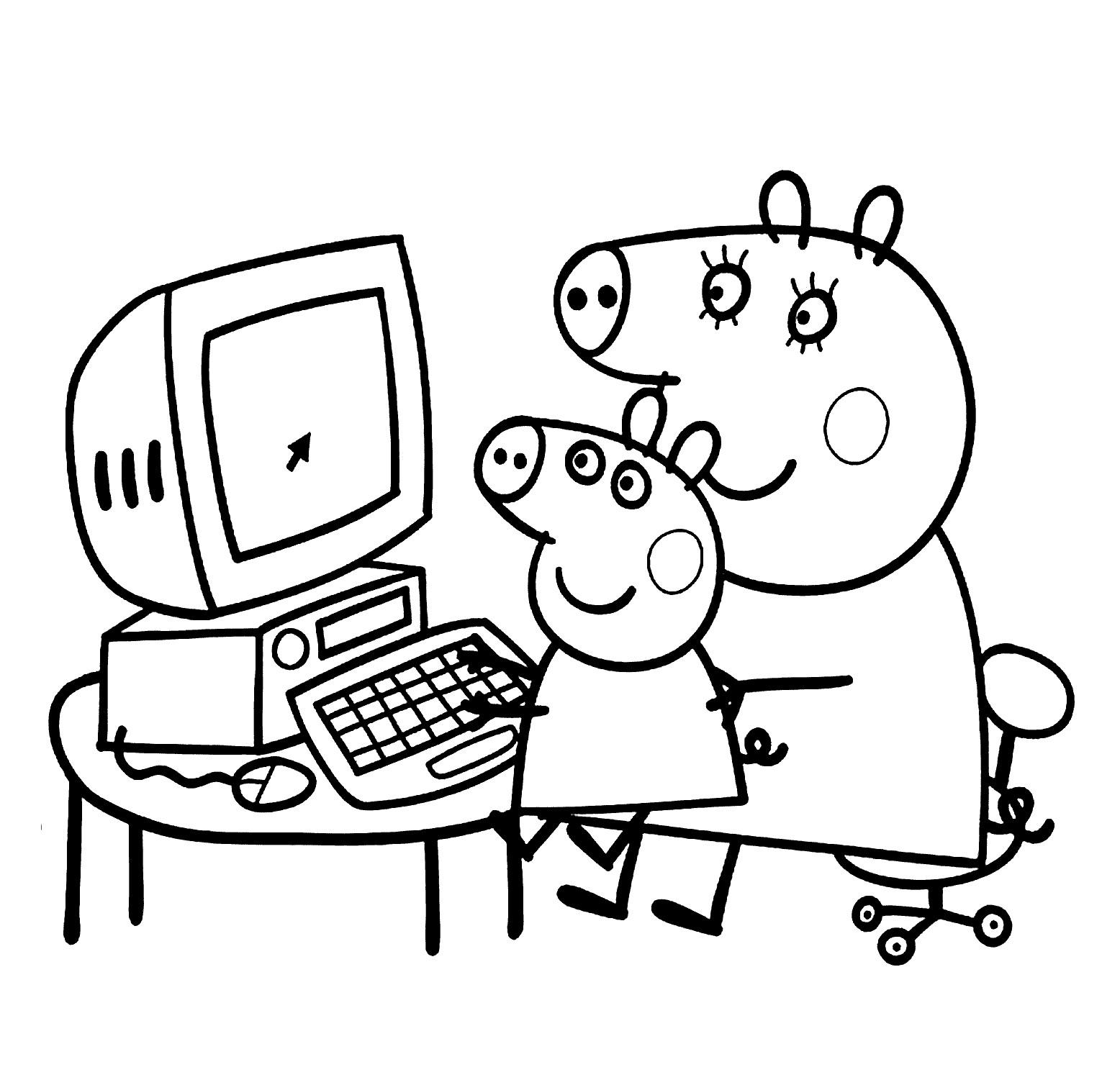 Hình ảnh tô màu heo Peppa dạy con chơi máy tính