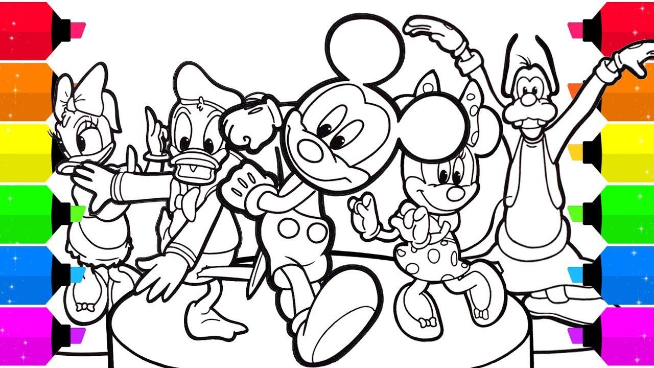 Tranh tô màu bé Mickey và bạn bè