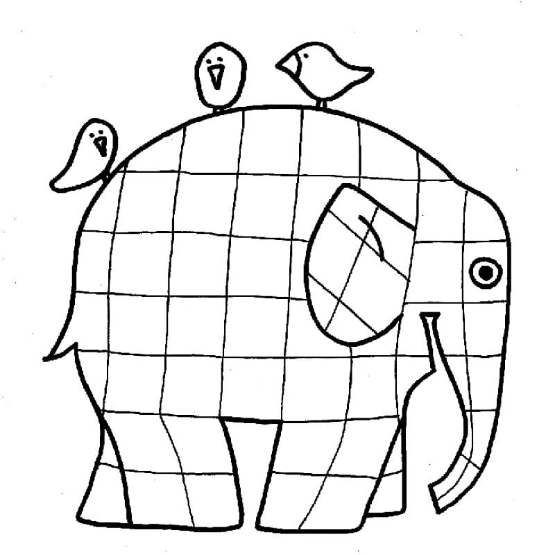 Tranh tô màu chú voi chia làm nhiều hình vuông