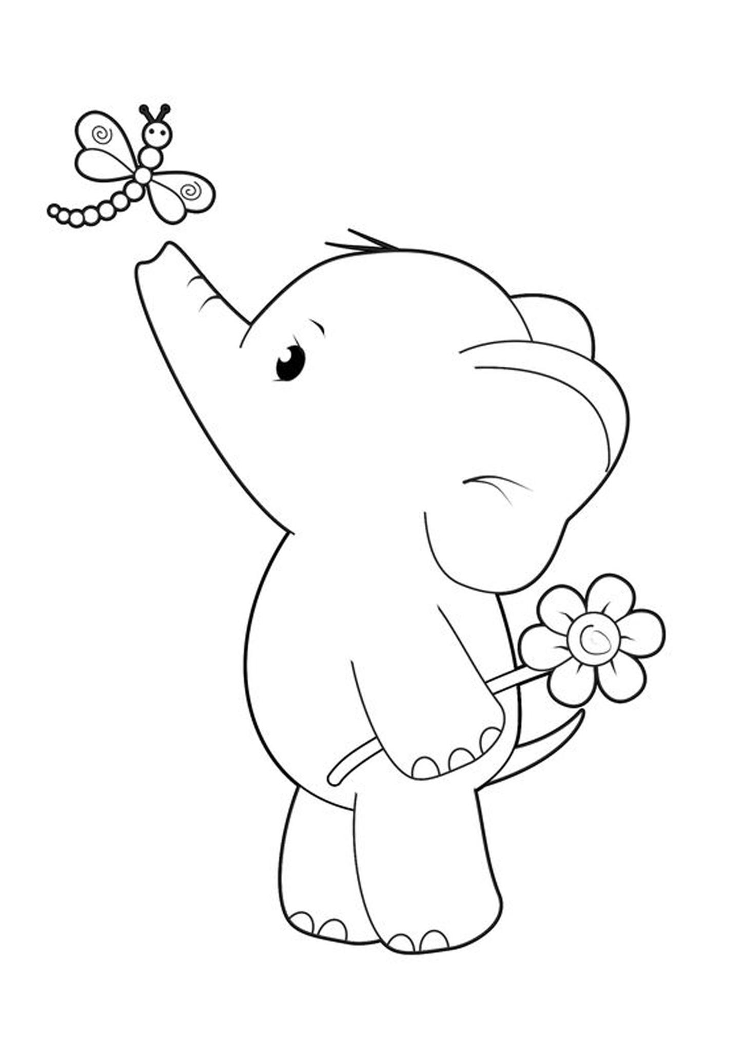 Tranh tô màu chú voi con chơi với bạn chuồn chuồn
