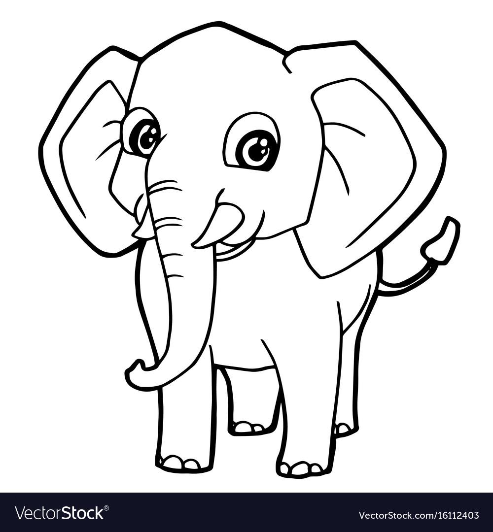 Tranh tô màu chú voi đáng yêu xinh xắn