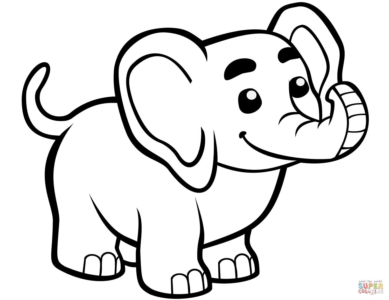 Tranh tô màu chú voi hình rất đẹp