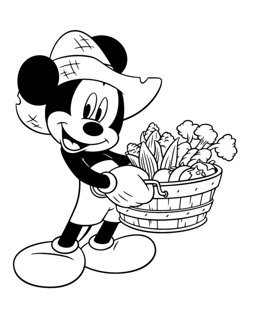 Tranh tô màu chuột Mickey cầm rỏ hoa quả