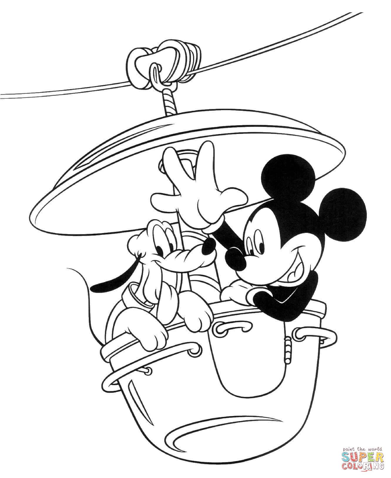 Tranh tô màu chuột Mickey đi cáp treo