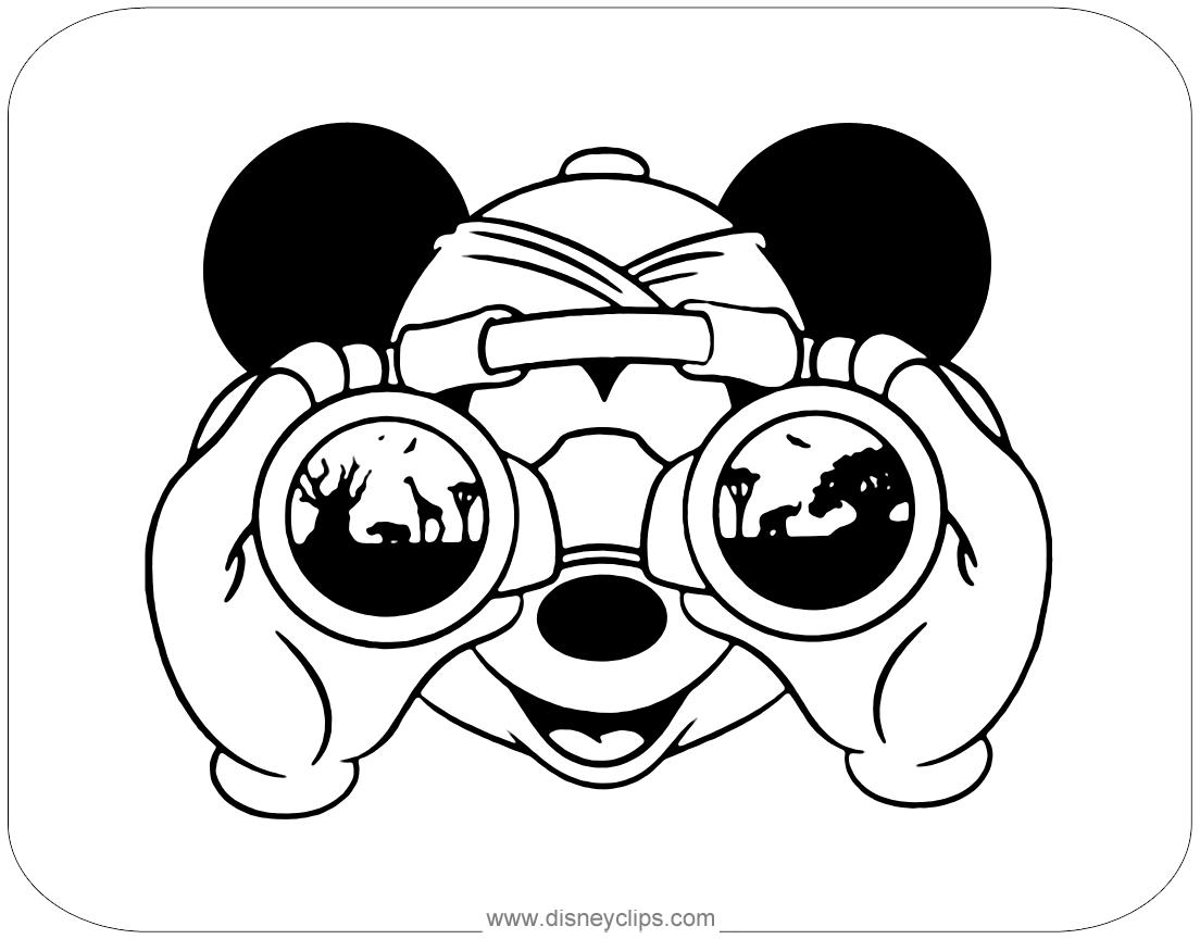 Tranh tô màu chuột Mickey soi ống nhòm