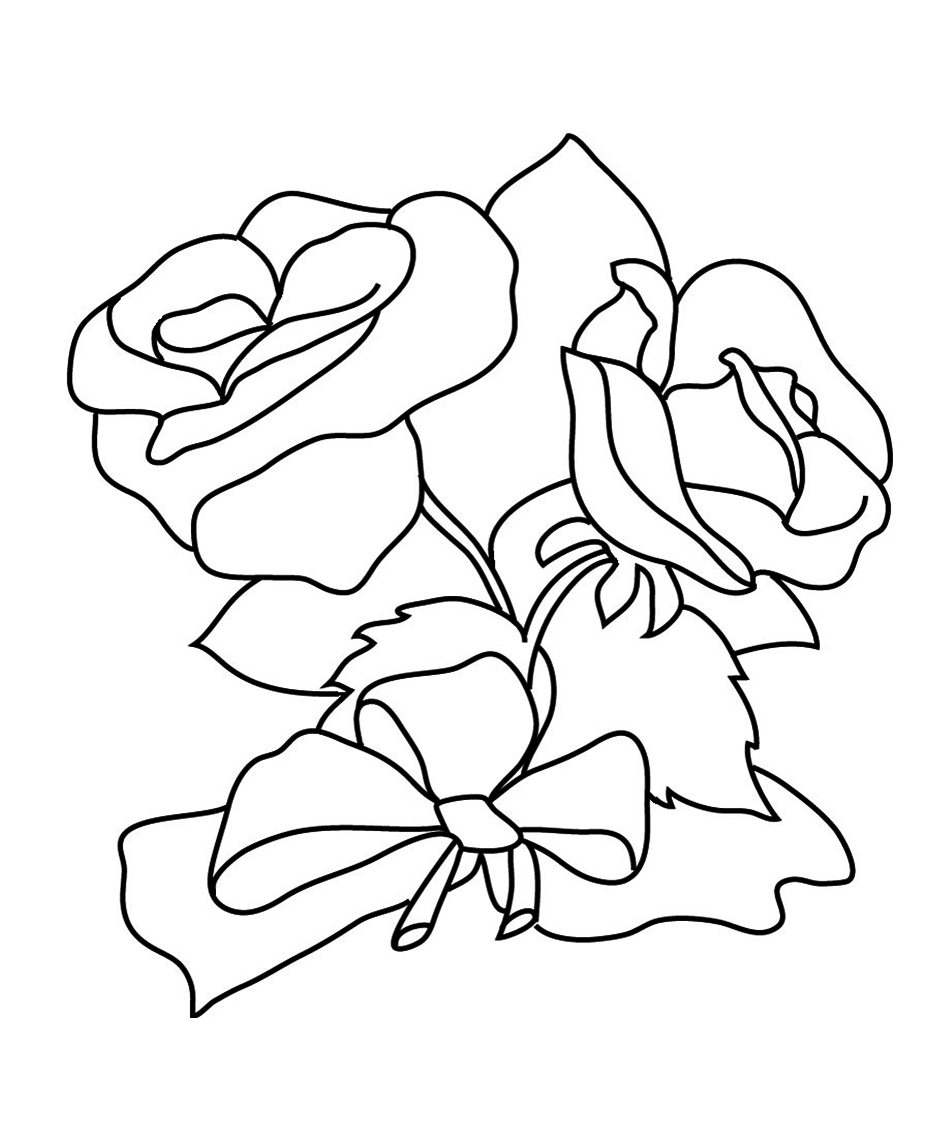 Tranh tô màu hoa hồng cực đẹp cho trẻ