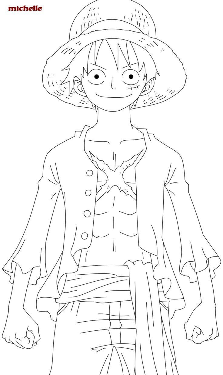 Tranh tô màu Luffy mũ rơm của One Piece