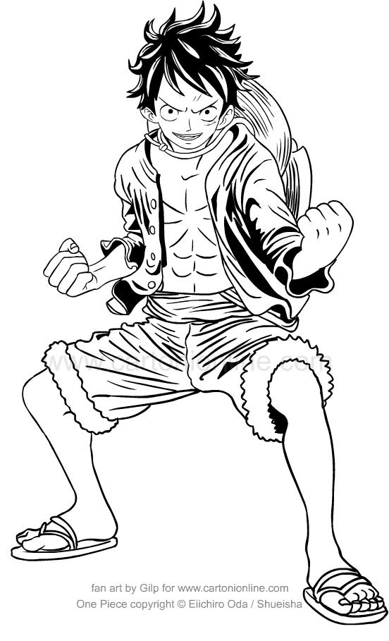 Tranh tô màu Luffy One Piece thủ thế