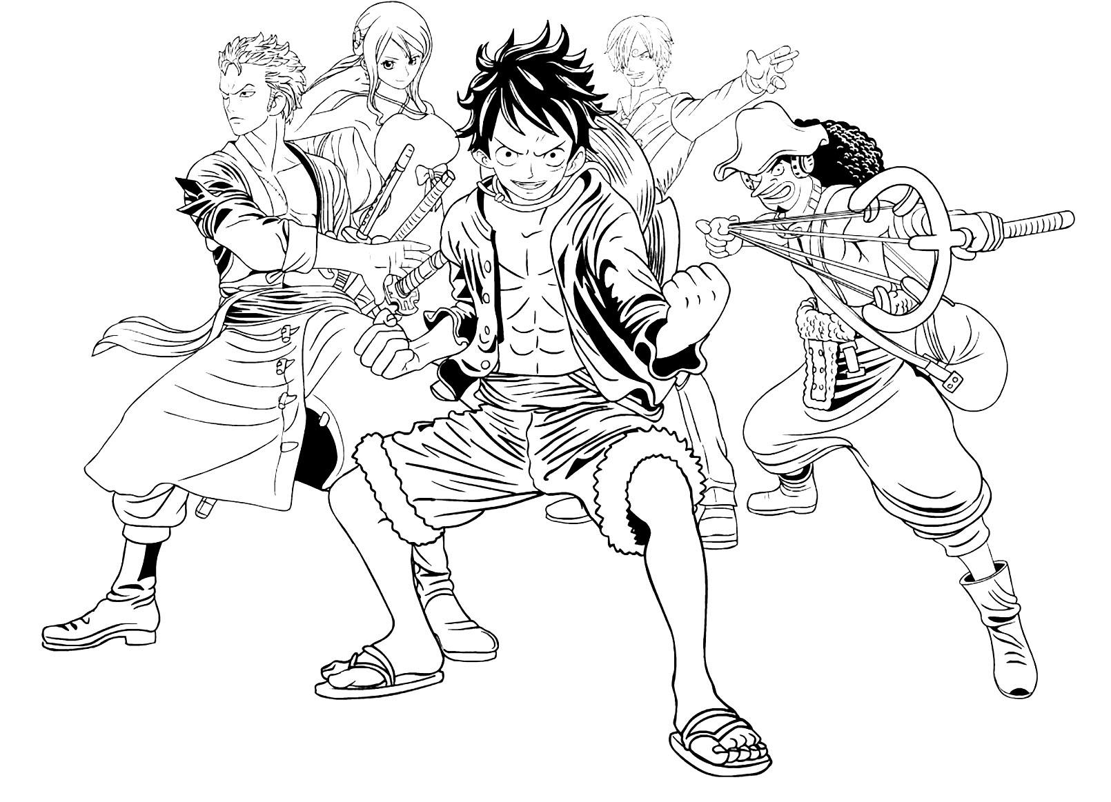 Tranh tô màu những người trong One Piece thật đẹp