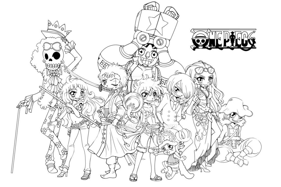 Tranh tô màu One Piece chibi cực đẹp