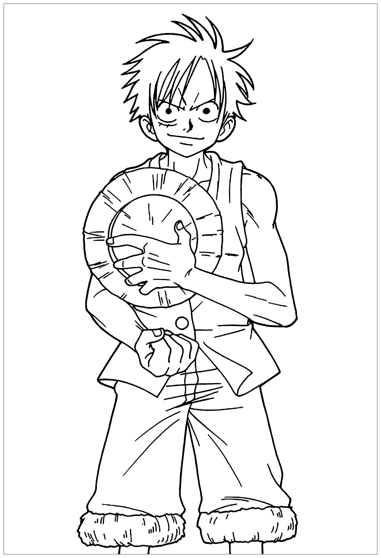 Tranh tô màu One Piece Luffy mũ rơm đẹp