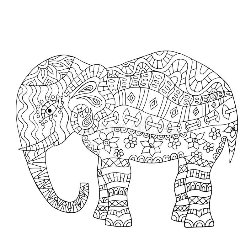 Tranh tô màu rất nhiều họa tiết hoa văn trên mình voi