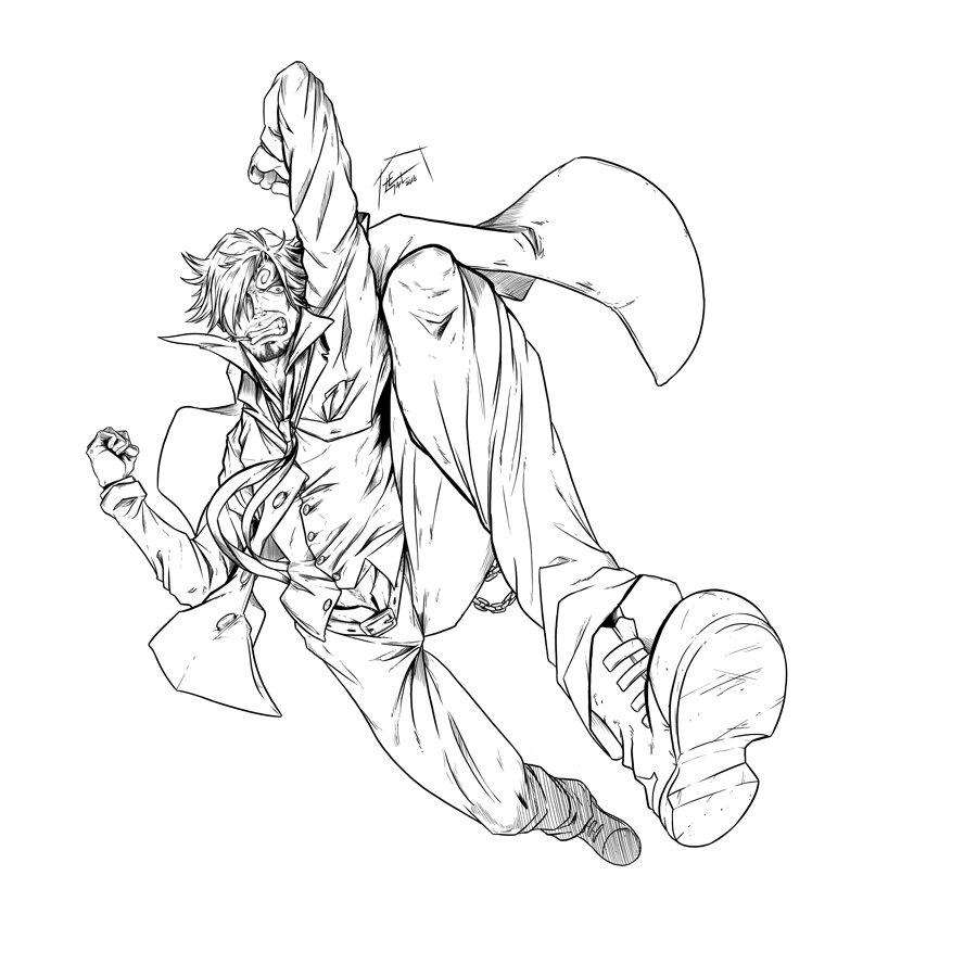 Tranh tô màu Sanji bước nhảy One Piece
