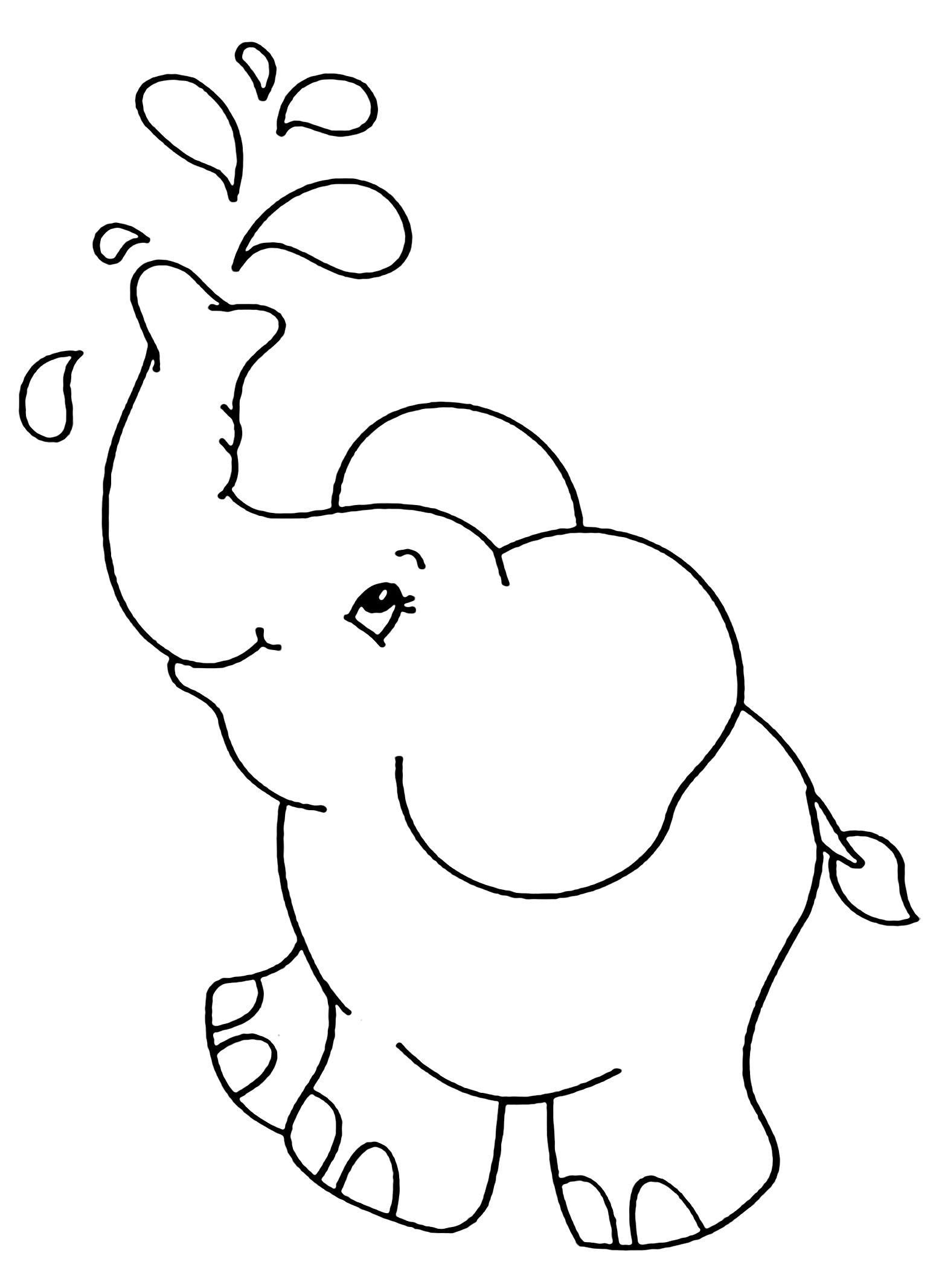 Tranh tô màu voi phun nước