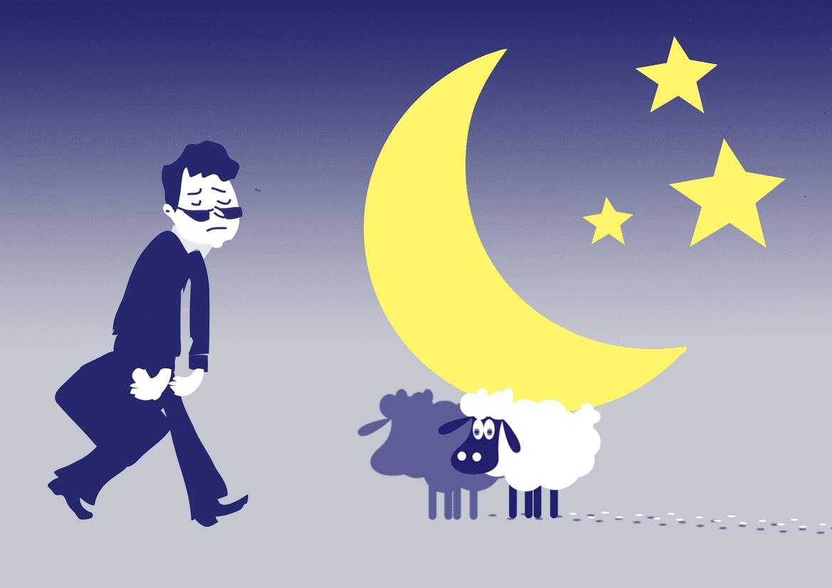 Tranh vẽ ban đêm mất ngủ với cừu trắng