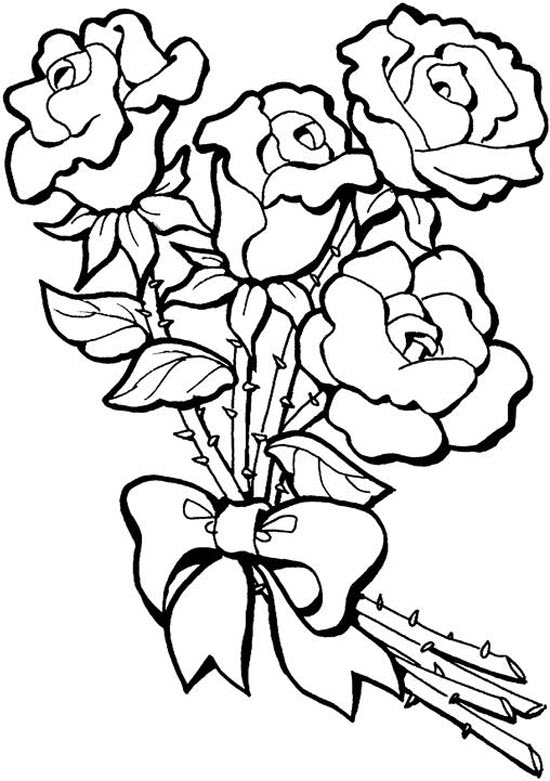 Tranh vẽ tô màu hoa hồng đẹp