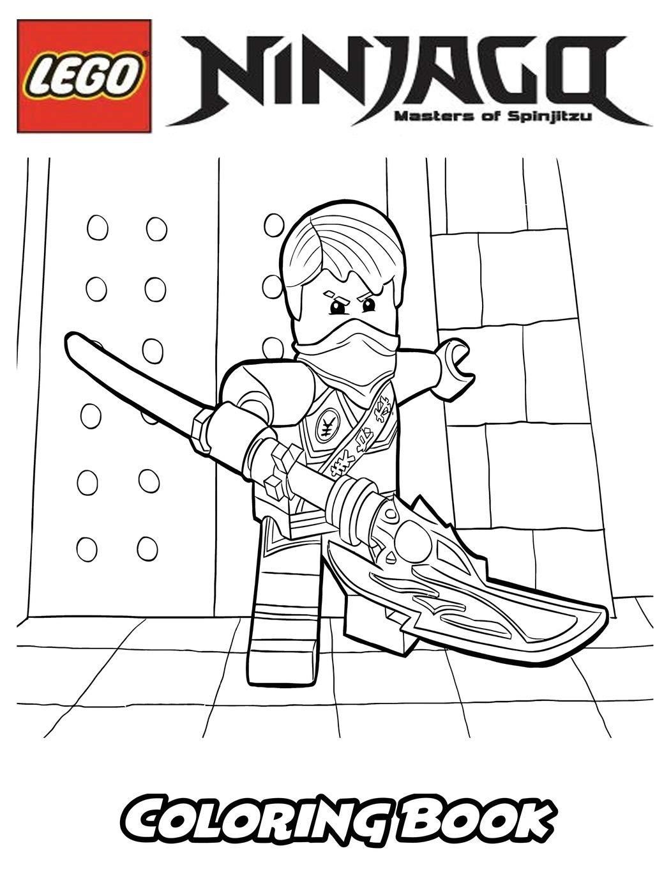 Hình ảnh tranh tô màu ninjago cầm đại đao lớn