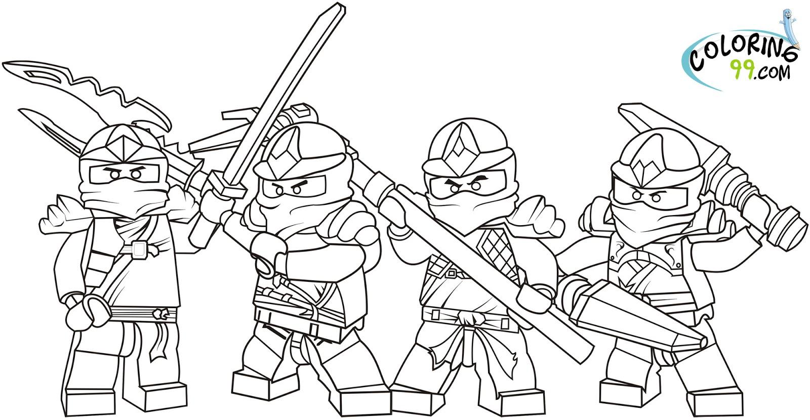 Tranh tô màu bốn ninjago dùng vũ khí chiến đấu