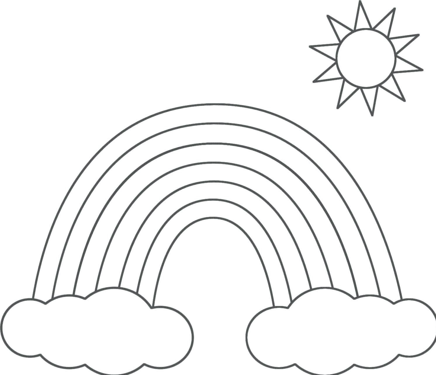 Tranh tô màu cầu vồng bầu trời đẹp