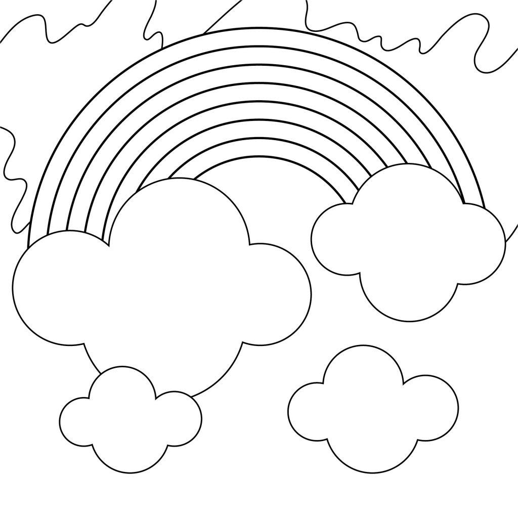 Tranh tô màu cầu vồng cầu vồng và mây