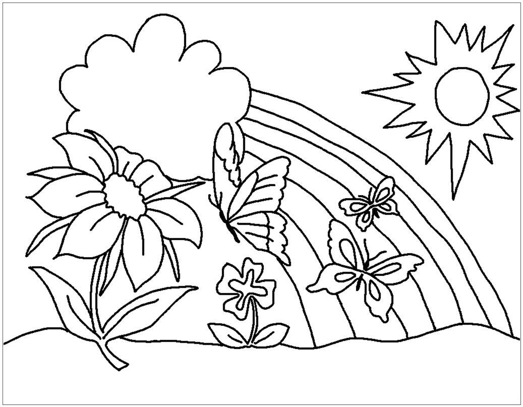 Tranh tô màu cầu vồng và hoa lá