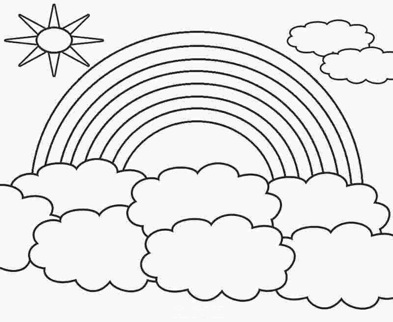 Tranh tô màu cầu vồng và mây đẹp