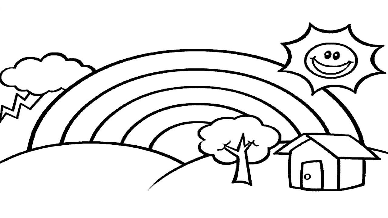 Tranh tô màu cầu vồng và ngôi nhà