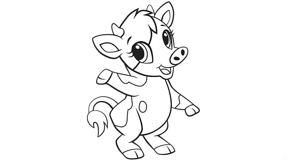 Tranh tô màu con bò đơn giản cho bé cực đẹp