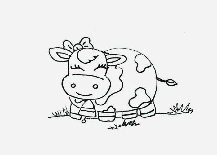 Tranh tô màu con bò đơn giản cực đẹp