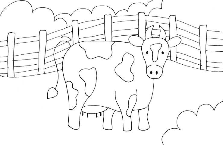 Tranh tô màu con bò đơn giản đẹp nhất cho bé