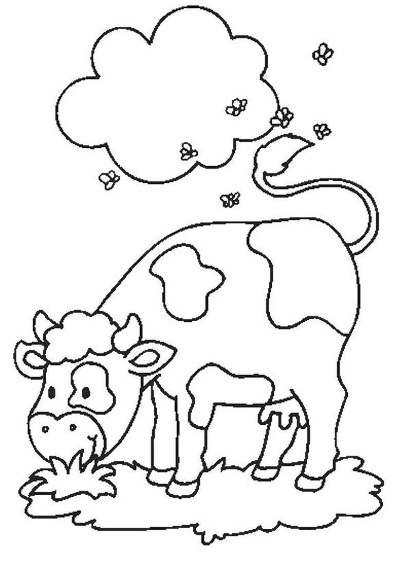 Tranh tô màu con bò đơn giản mà đẹp