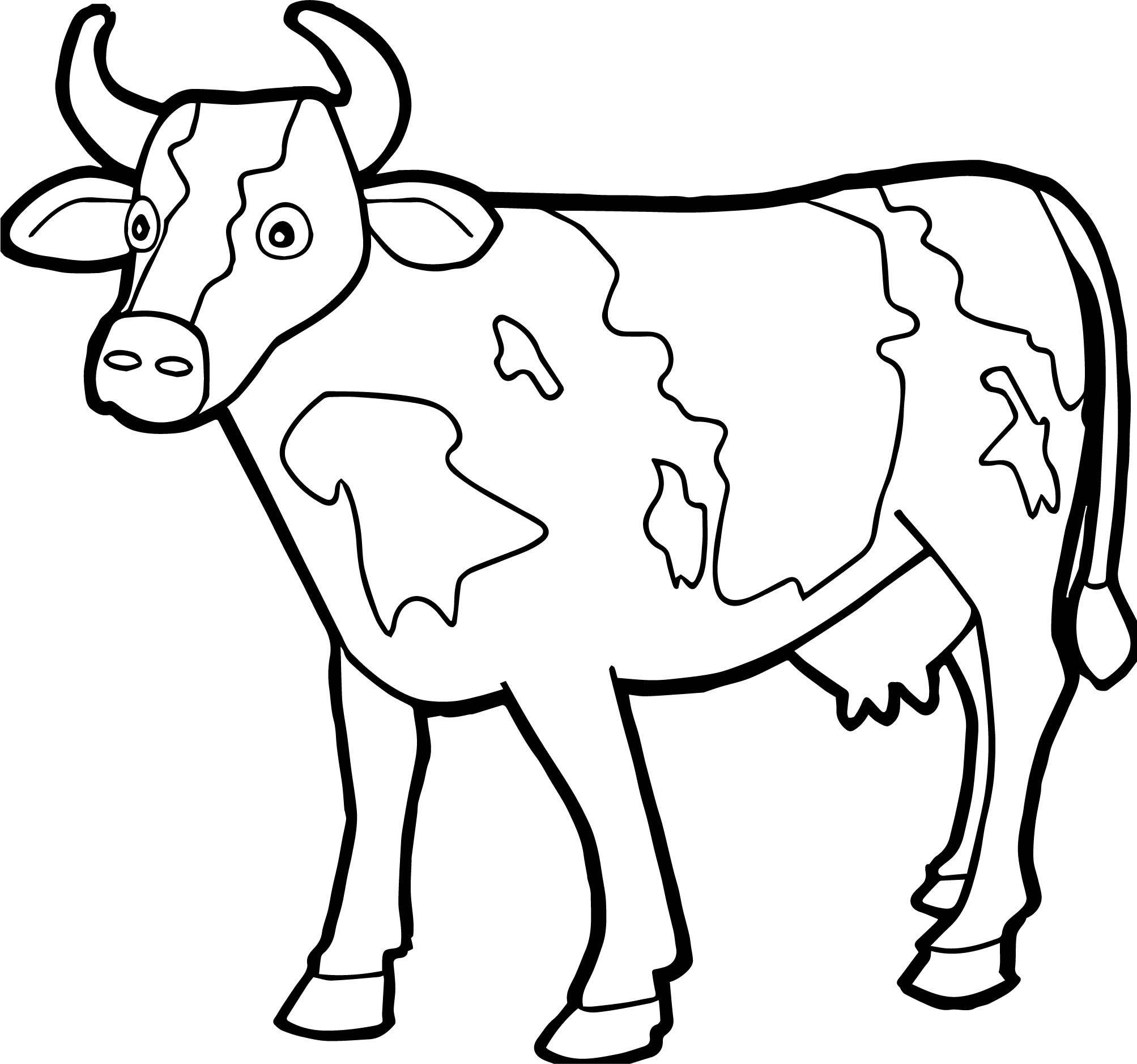 Tranh tô màu con bò đơn giản