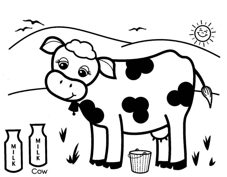 Tranh tô màu con bò sữa ăn cỏ