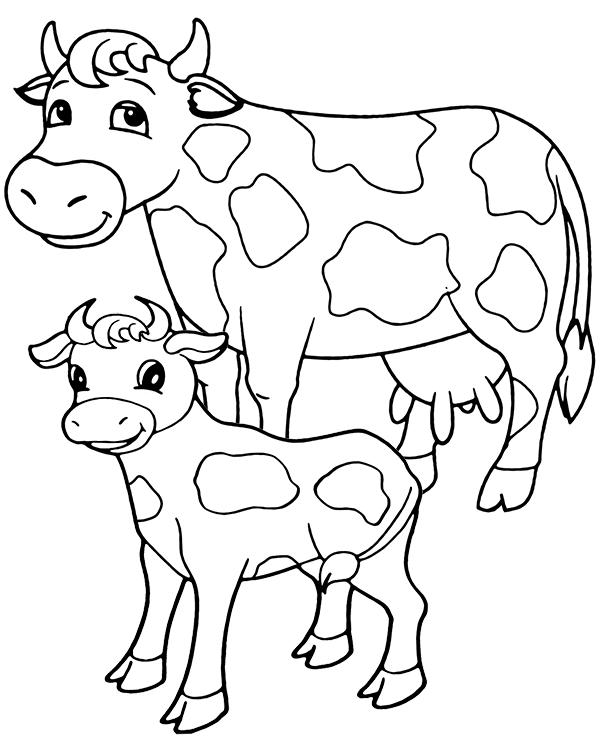 Tranh tô màu con bò sữa đơn giản