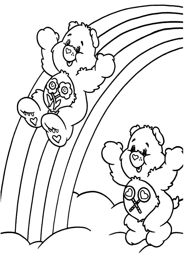 Tranh tô màu gấu và cầu vồng