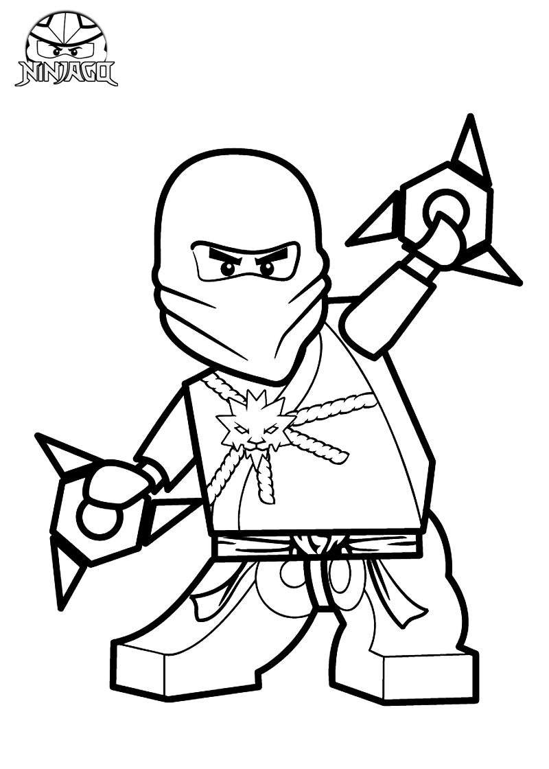 Tranh tô màu ninjago cầm hai phi tiêu lớn