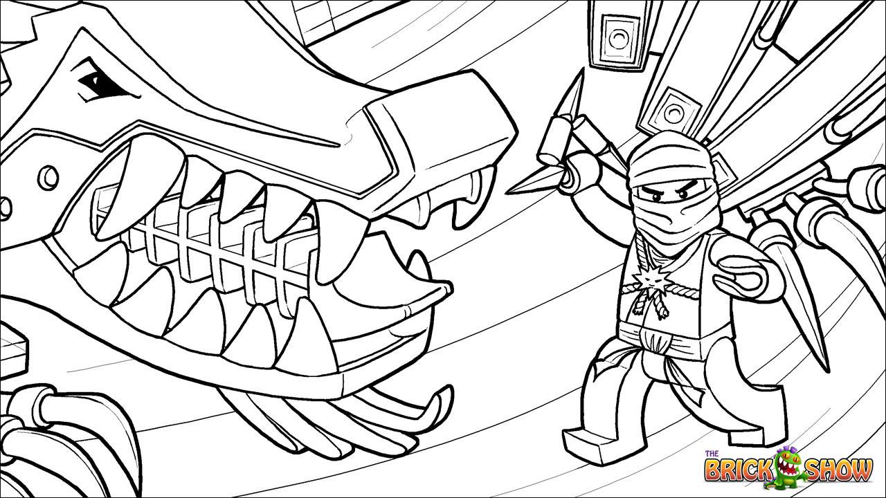 Tranh tô màu ninjago chiến đấu cùng quái thú