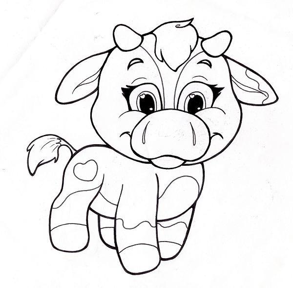 Tranh vẽ tô màu con bò đẹp