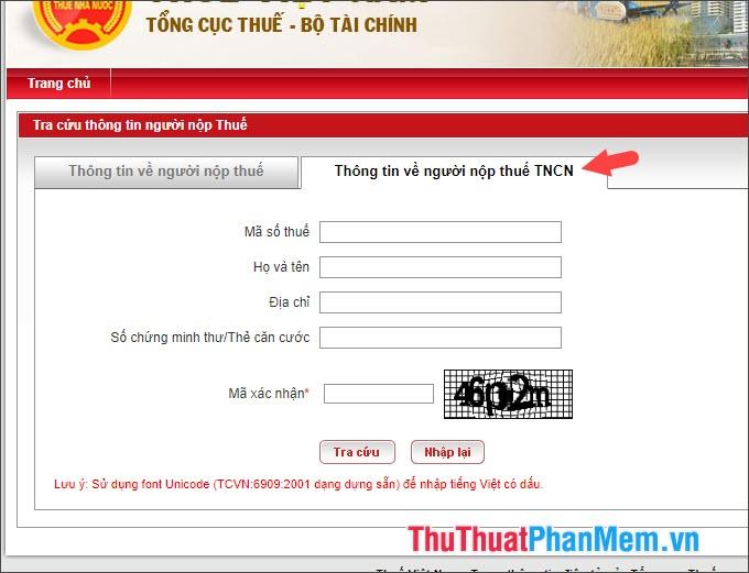 Chuyển qua thẻ Thông tin về người nộp thuế TNCN