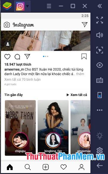 Instagram phiên bản Android thì bạn có thể truy cập ảnh và upload ảnh nhanh chóng với phím tắt trên màn hình