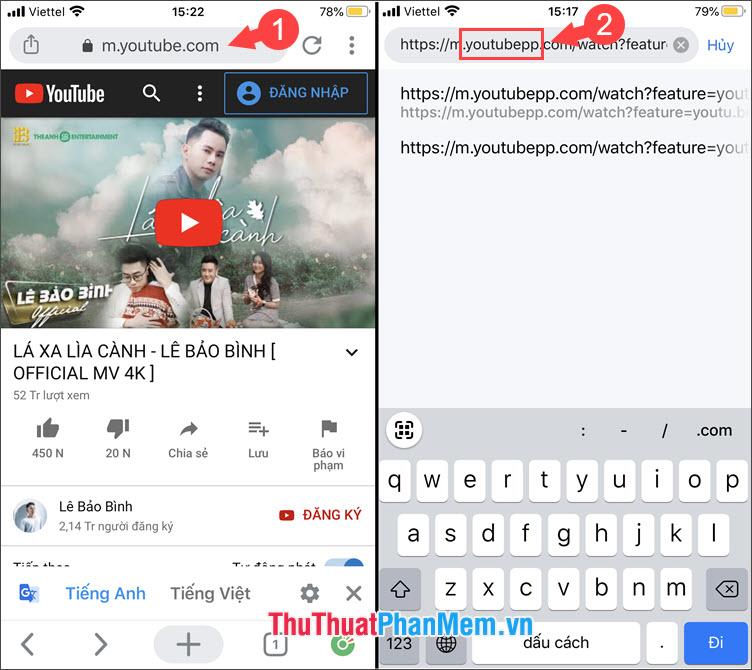 Thêm hậu tố pp đằng sau chữ youtube