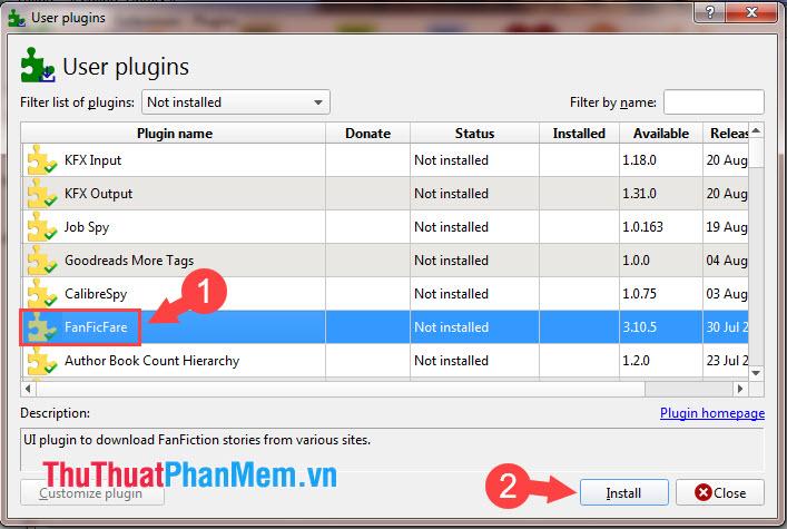 Tìm đến plugin FanFicFare chọn Install
