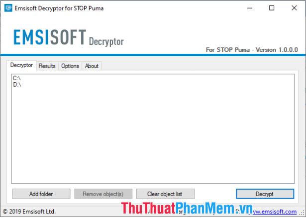 Cài đặt công cụ Emsisoft Decryptor for STOP Puma