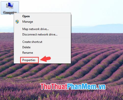 Click chuột phải vào My Computer chọn Properties