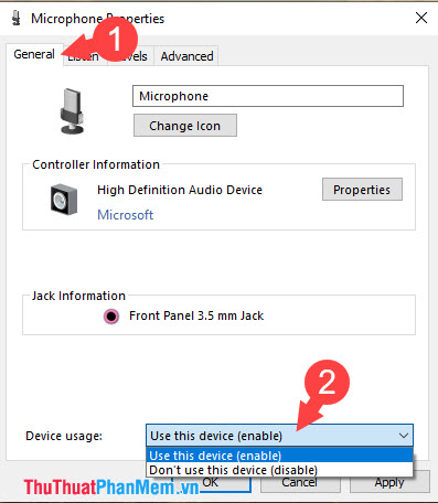 Click vào Use this device (enable) trong mục Device usage