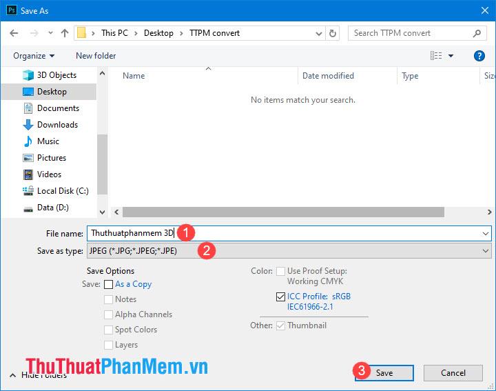 Đặt tên cho file ảnh, chọn định dạng jpg rồi nhấn Save