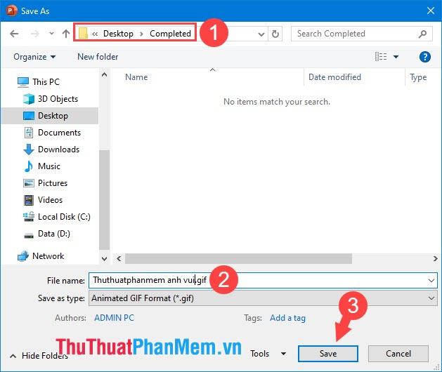 Đặt tên cho file rồi chọn thư mục lưu và nhấn Save